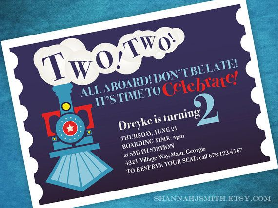 Two Train Themed 2nd Birthday Party Invitation Print Your Own