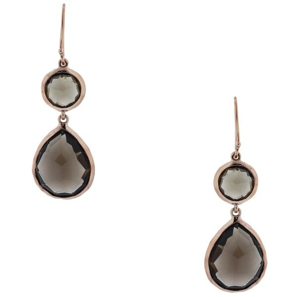 Pre Owned Ippolita Rose Gold Smoky Quartz Two Stone Drop Earrings 951 140 Cop