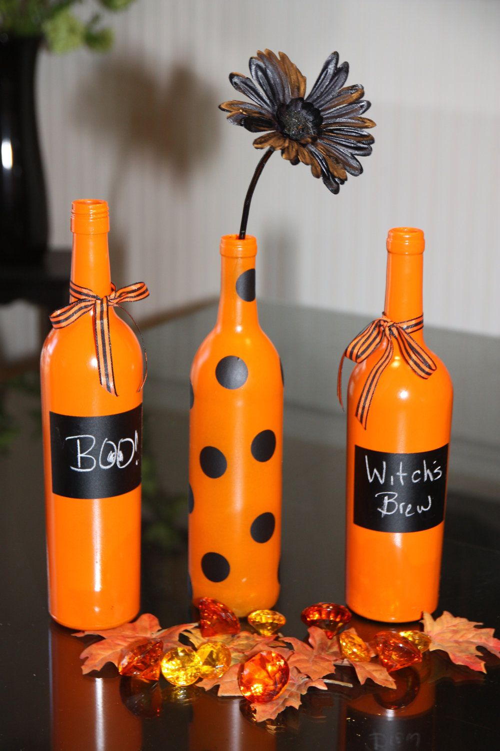 How To Decorate Wine Bottles For Halloween Halloween Wine Bottle Decor$2400 Via Etsy Wine Bottles