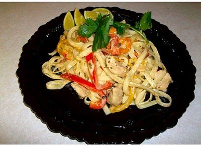 California pizza kitchens tequila lime chicken over fettuccine I ll use shrimp