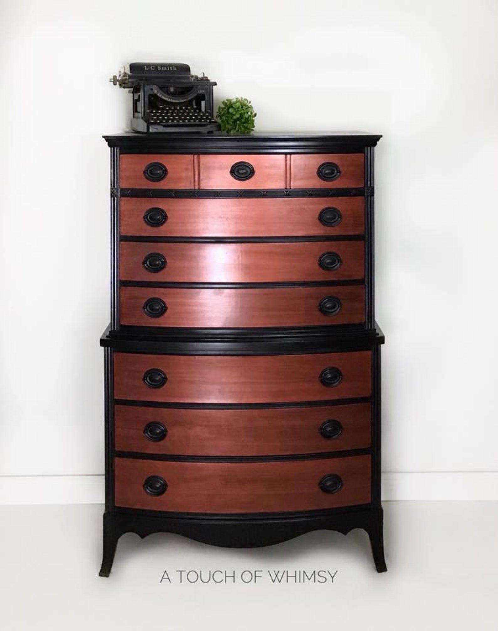 SOLD Black and Hammered Copper Painted Dresser, Bedroom
