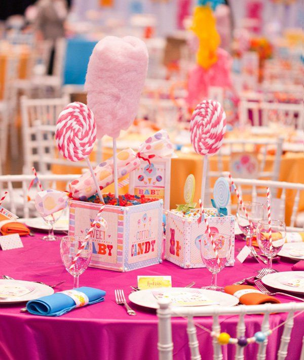 Candy Centerpieces Part - 23: Cotton Candy Centerpieces Baby Shower - Baby Wall