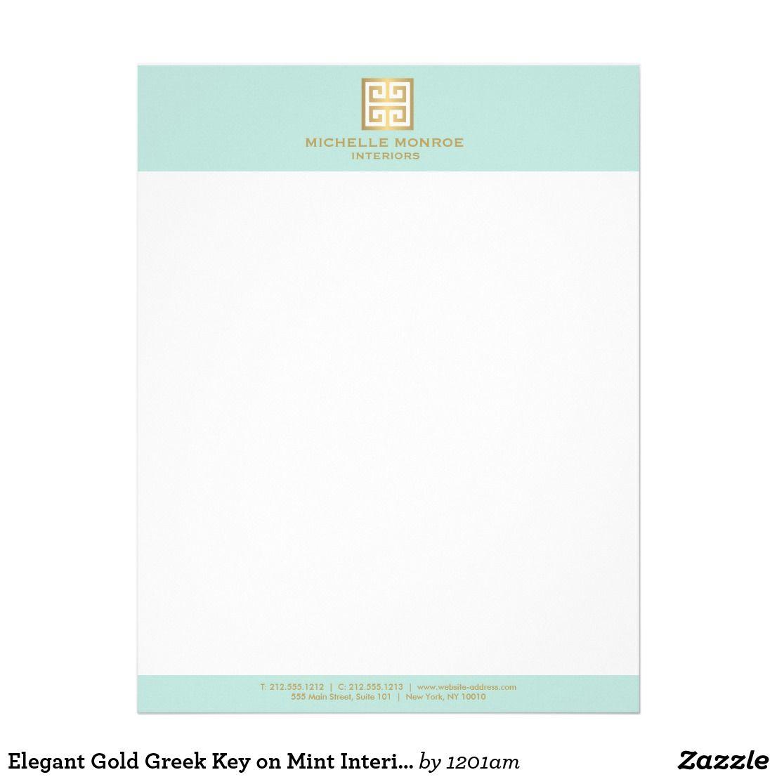 Elegant Gold Greek Key On Mint Interior Designer Letterhead