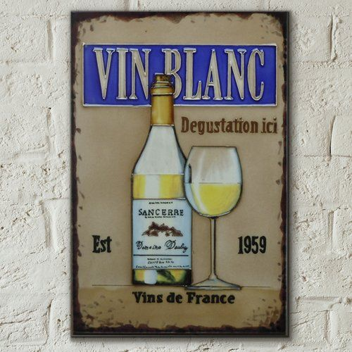 Castleton Home Hand Painted Vin Blanc White Wine Kitchen Wall