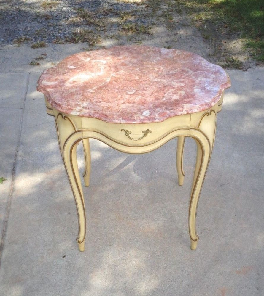Antique furniture · French Provincial Weiman Heirloom Lamp Table With  Marble Top & Drawer #FrenchCountryProvincial #Weiman - French Provincial Weiman Heirloom Lamp Table With Marble Top
