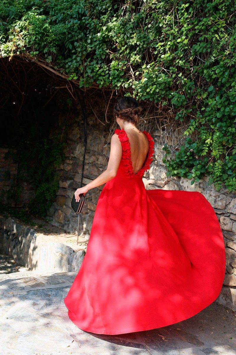 Vestido rojo largo apparentia