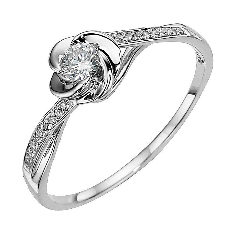 9ct white gold flower 0.20ct diamond solitaire ring - Product ...