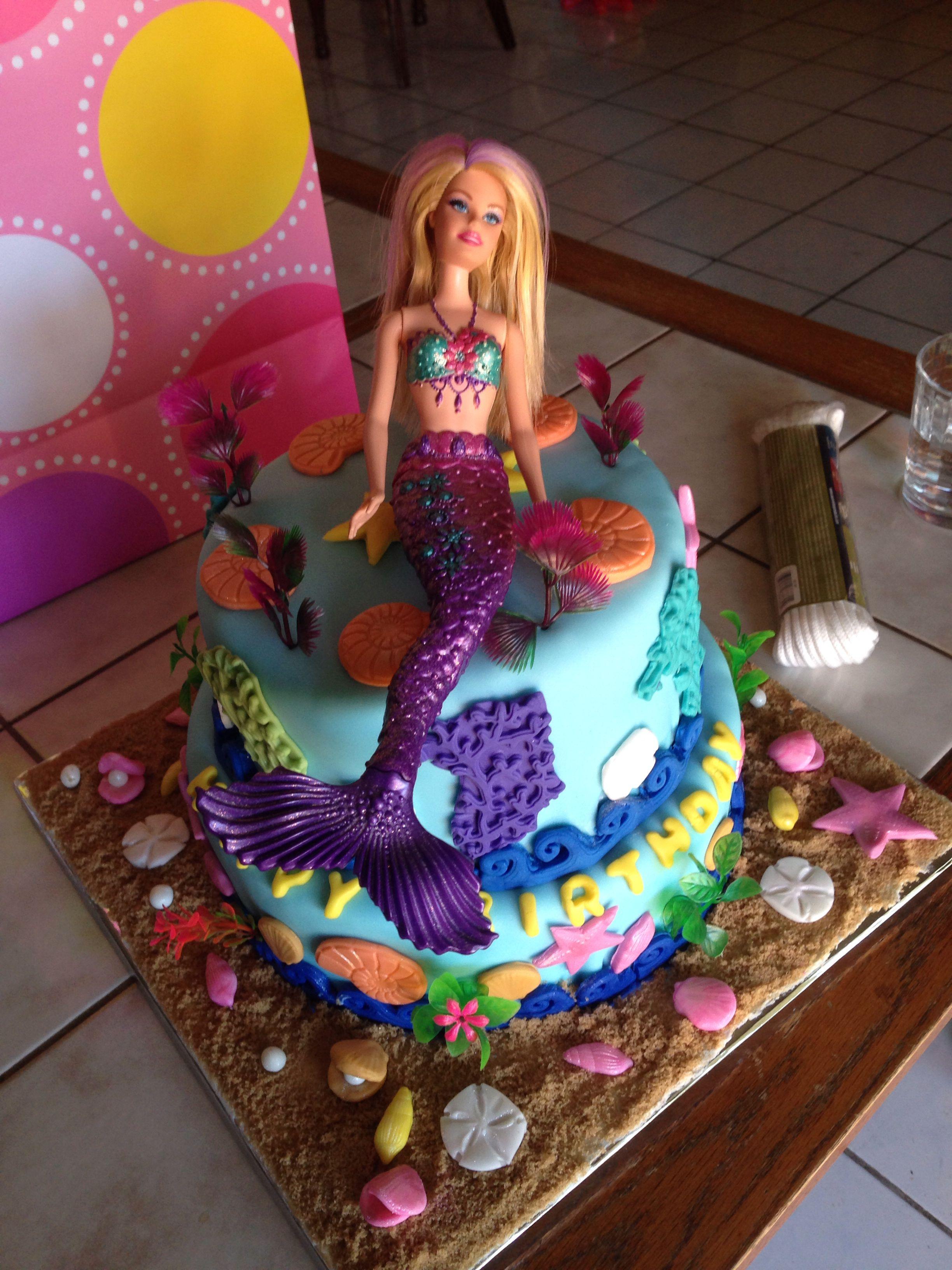 A Wonderfully Made Barbie Mermaid Cake Happy Birthday