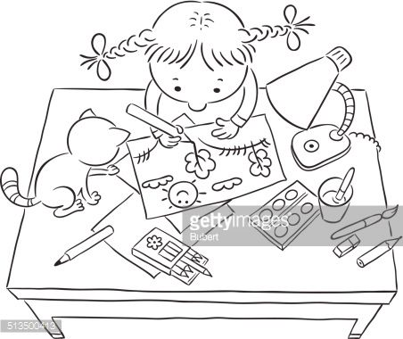 coloring book drawing of children playing at a table with toys google search - Children Drawing Books