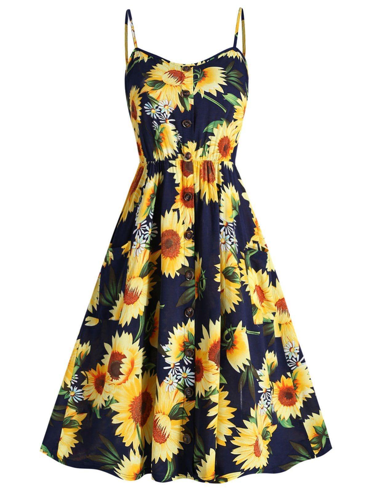 Plus Size Sunflower Print Cami Dress A Line Dress Dresses Plus Size Dresses [ 1596 x 1200 Pixel ]
