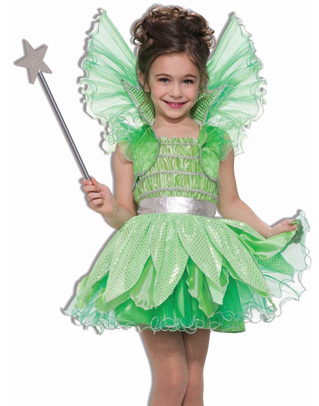 Green Sprite Fairy Princess Tinkerbell Fairytale Girl Halloween Costume Fairy Costume Kids Halloween Costumes For Girls Halloween Girl [ 1400 x 1100 Pixel ]