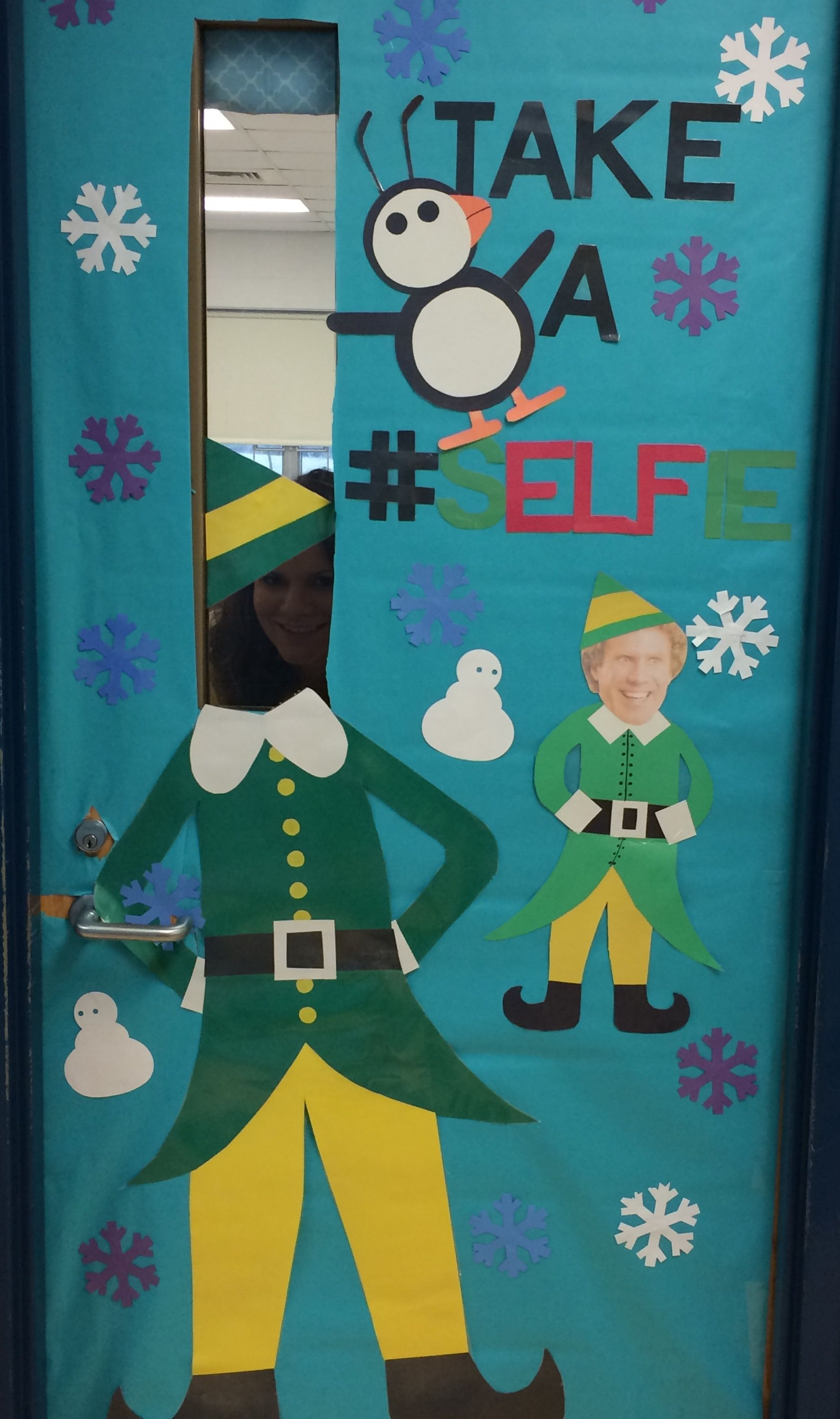 Christmas door ideas, selfie, Buddy the elf, education ...