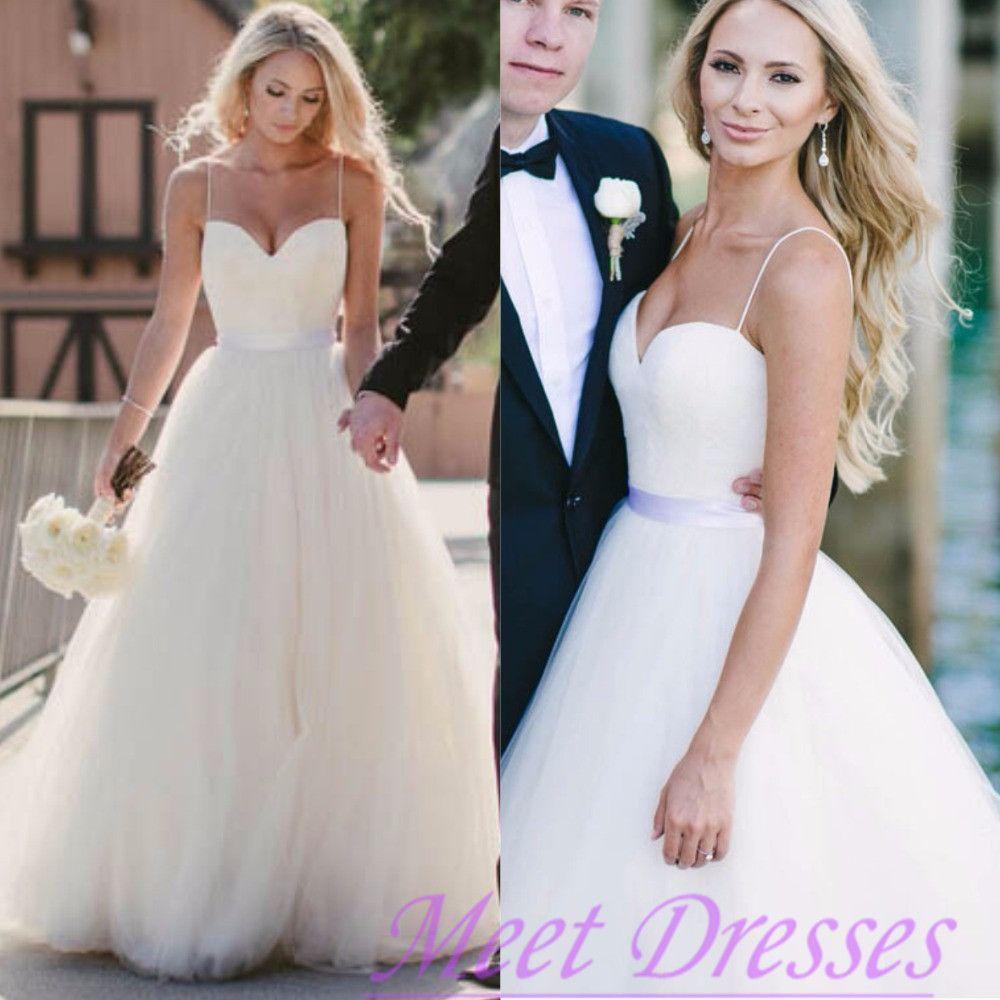 spaghetti strap wedding dress tulle