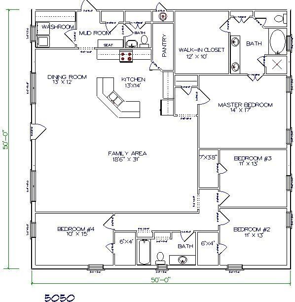 Barndominium Floor Plan 4 Bedroom 2 Bathroom 50x50 Barn Homes Floor Plans Pole Barn House Plans Barndominium Floor Plans