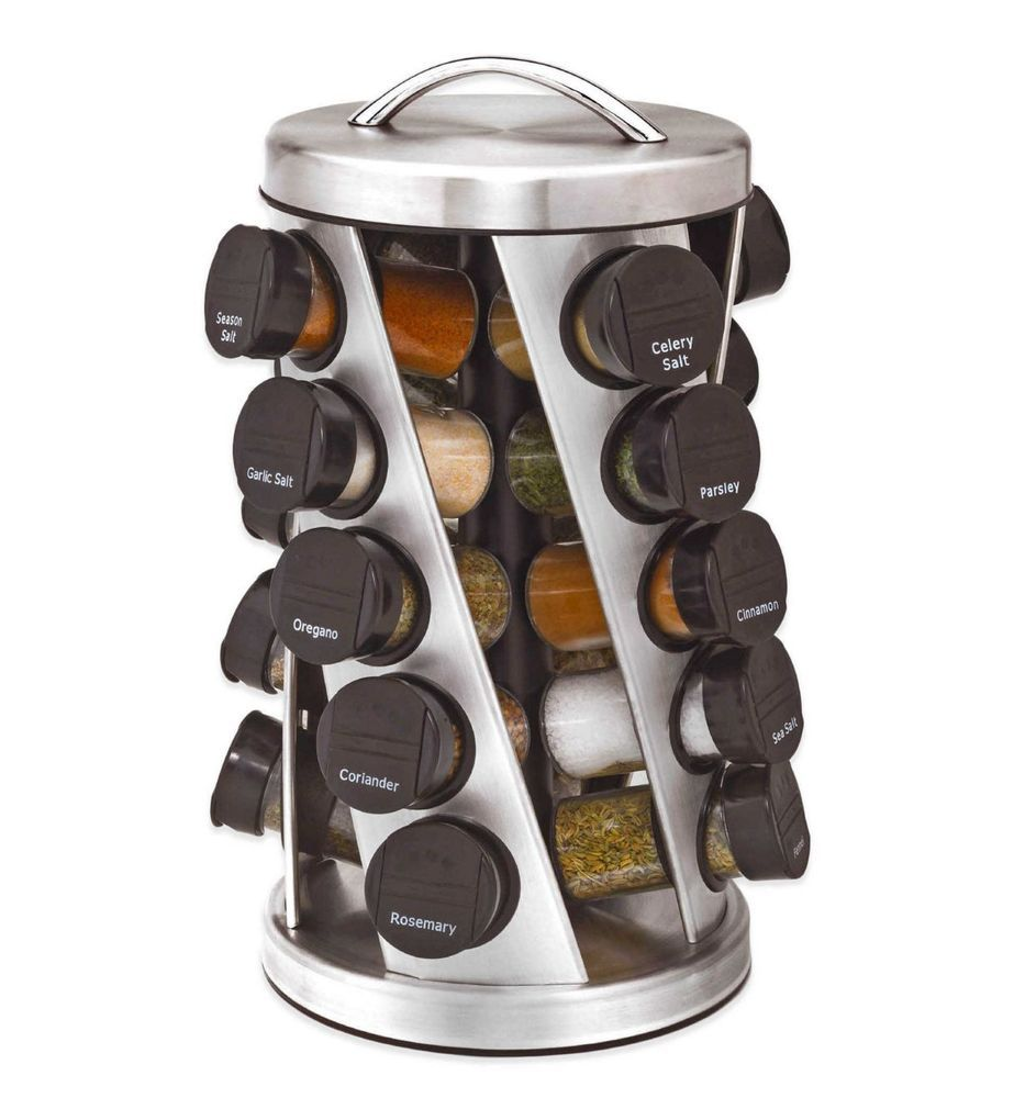 Spice Rack with 12 Jars Stainless Steel with Bottle Revolving Metallic CAROUSEL