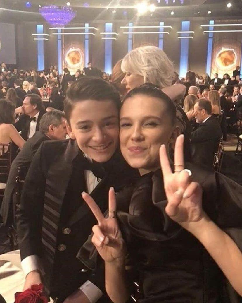 Millie Bobby Brown and Noah Schnapp|Golden Globes 2018