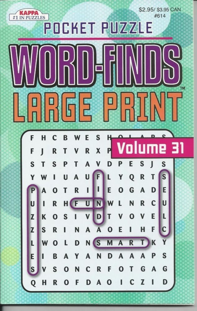 KAPPA POCKET PUZZLE LARGE PRINT WORDSEARCH WORD FINDS PUZZLE BOOK VOLUME 31  NEW Puzzle Books, Word Find, Fun Puzzles