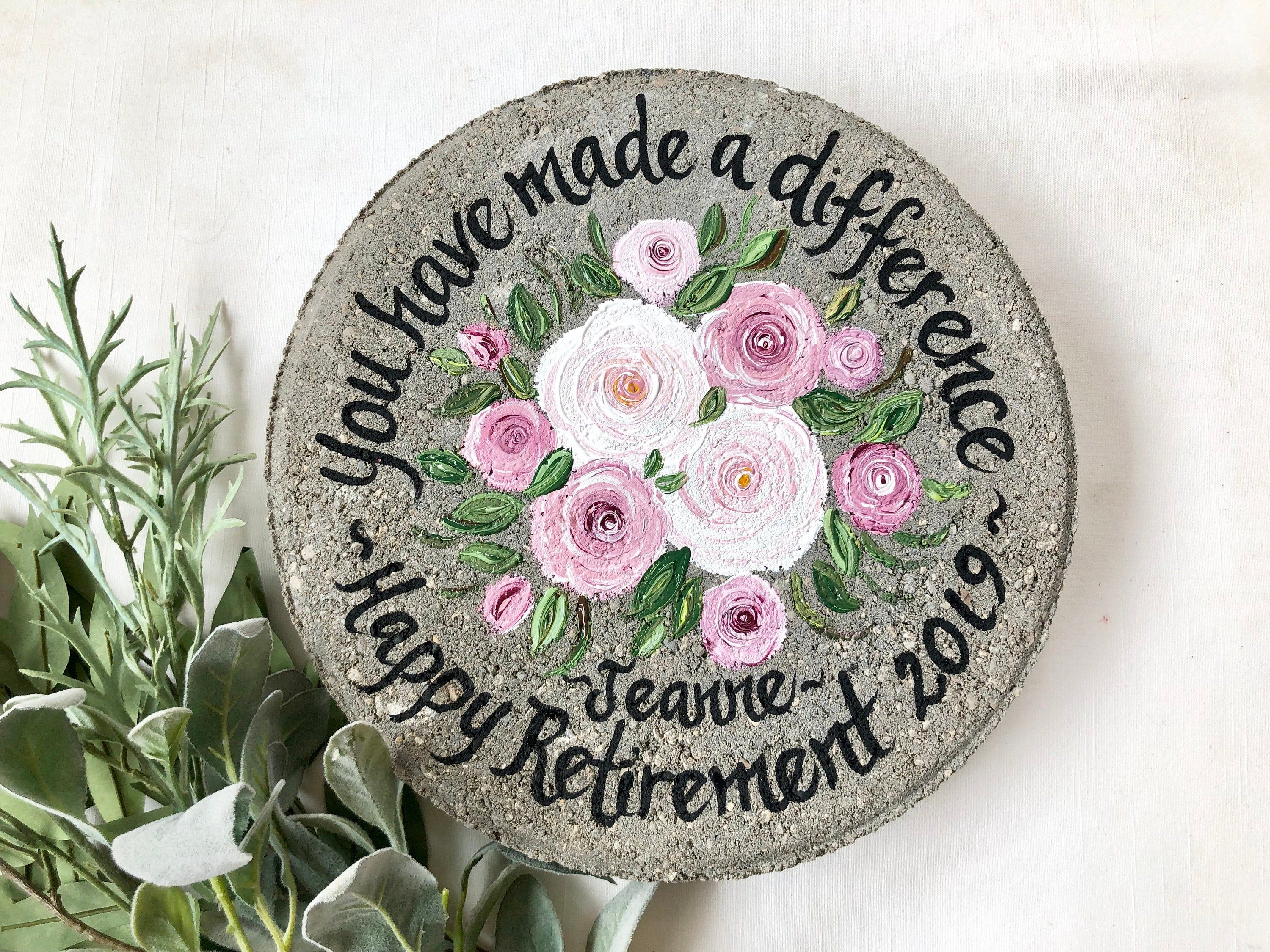 Retirement Gift Pink Roses Retirement Stone Retirement Etsy Retirement Gifts For Women Retirement Gifts Wedding Gifts For Parents