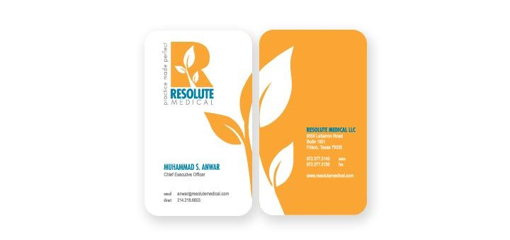 Logo, Tagline \ Business Card Design Resolute Medical, Practice - business card template for doctors