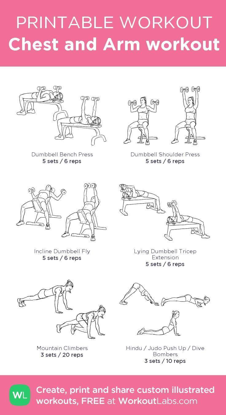Fitness & Training: Brust- und Armtraining: Mein individuell bedruckbares Workout von @Work … - Mode Frauen 60 #chestworkouts