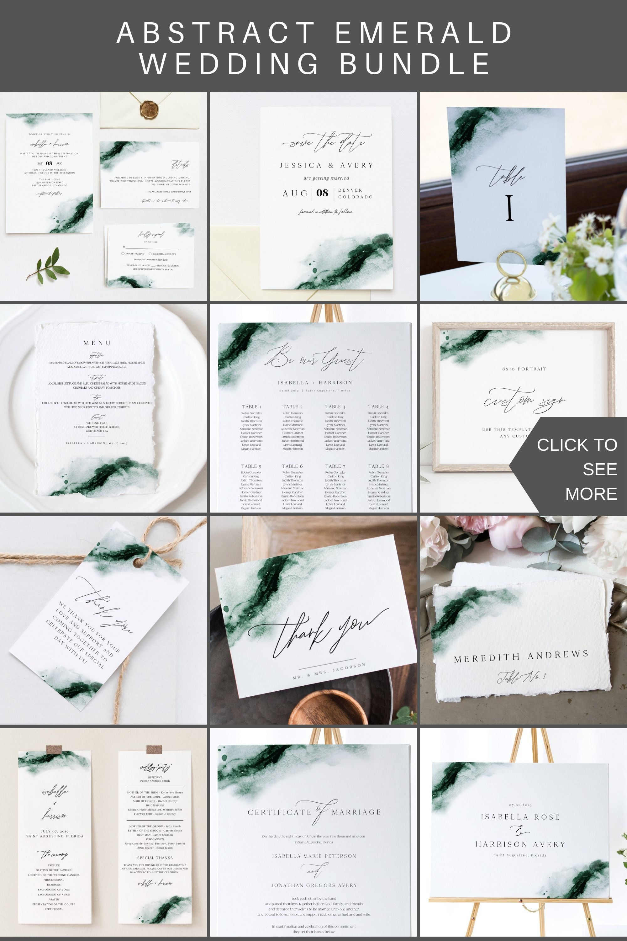 Emerald Green Watercolor Wedding Invitation Template Bundle