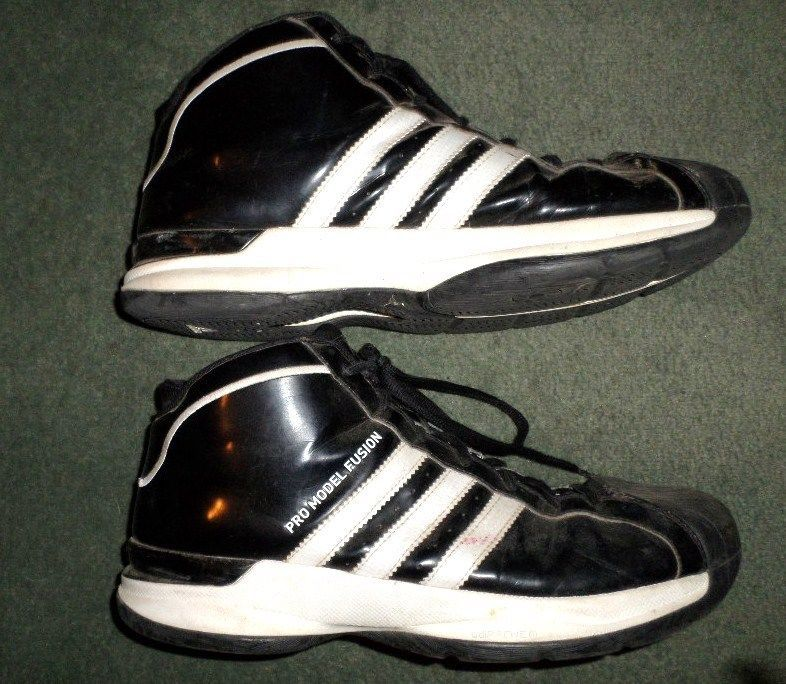 5565947281d Men s Black   White ADIDAS PRO MODEL FUSION High Top Basketball Shoes