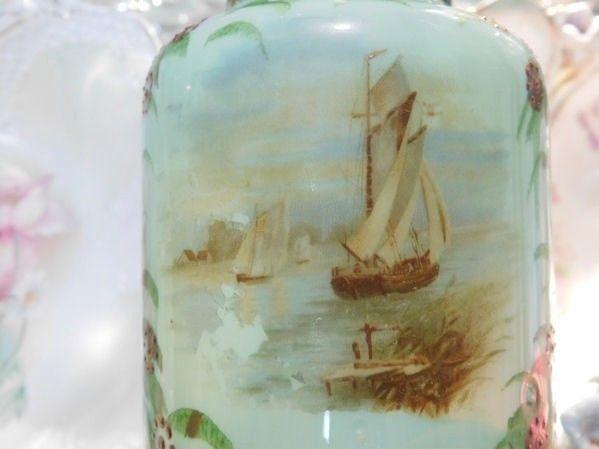 Antique Bristol Glass Vase 1800s Victorian Green Opaline Glass Ship Boat Scene Scenic Artisan Hand Blown Glass Cottage Chic Home Decor
