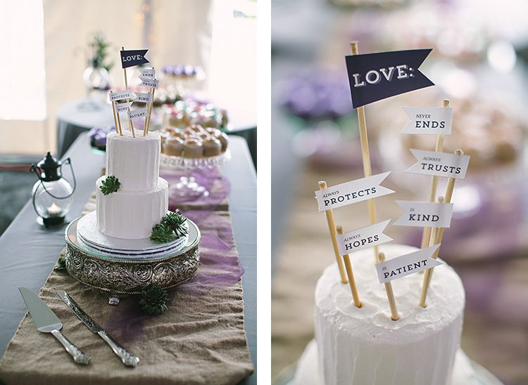 Simple two tier cake with succulents and flag topper // Brightside Photography 2013