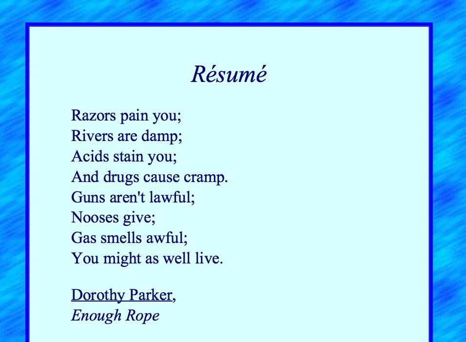 Resume- Dorothy Parker poems Pinterest Dorothy parker and Poem - resume by dorothy parker