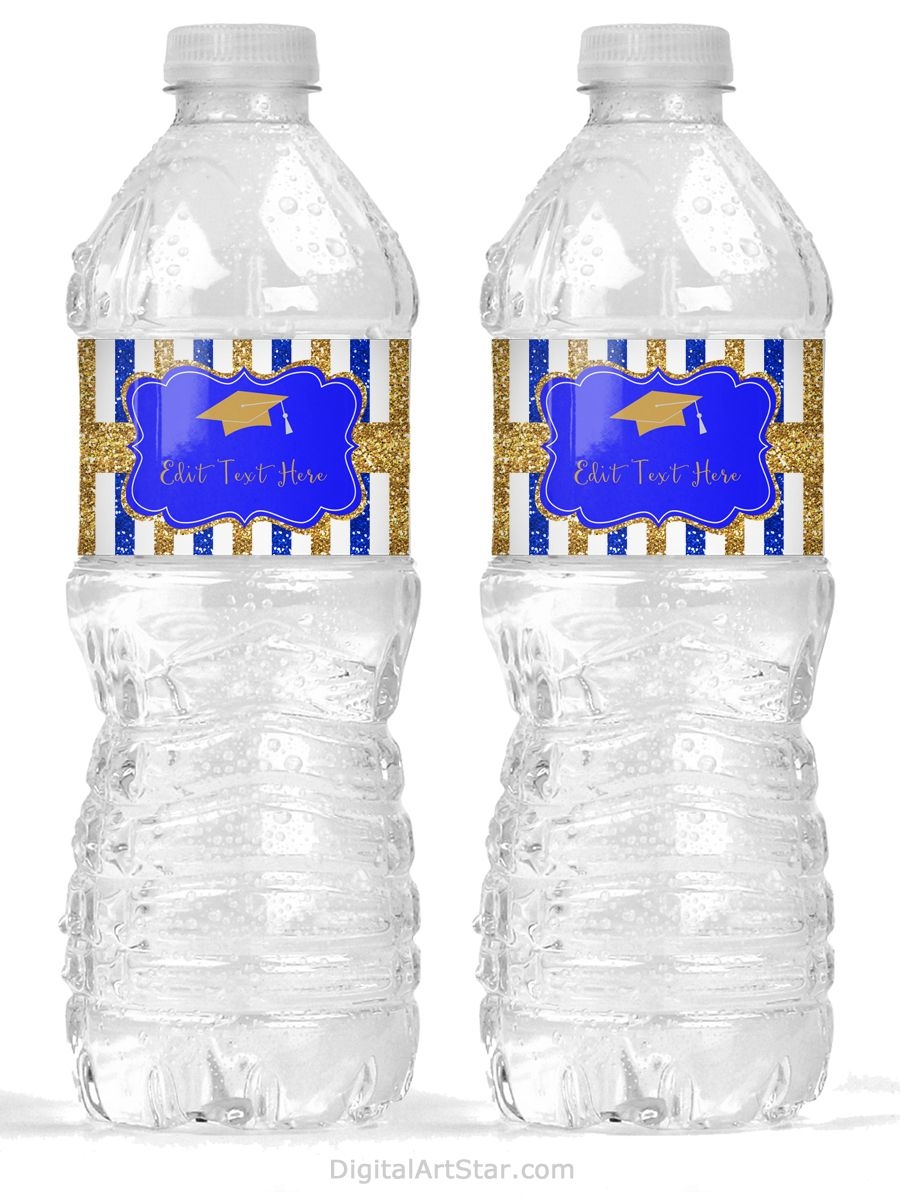 Graduation Party Water Bottle Label Wrappers Boy Blue Gold Yellow Label Printable Personalized