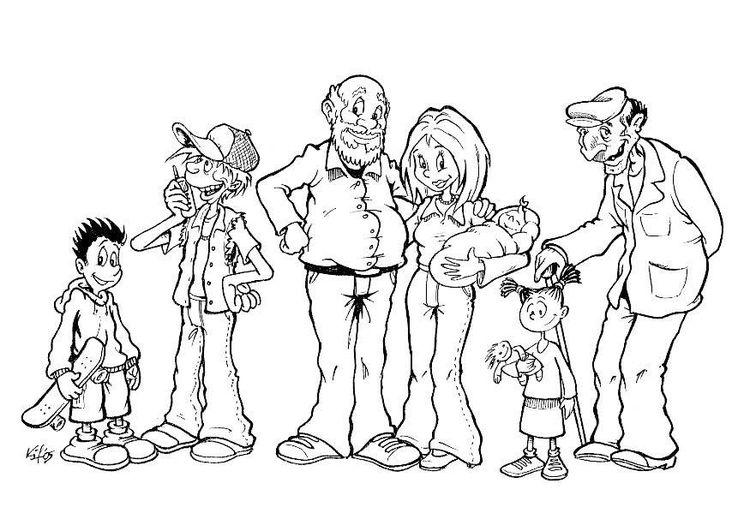 malvorlage familie verschiedene altersgruppen