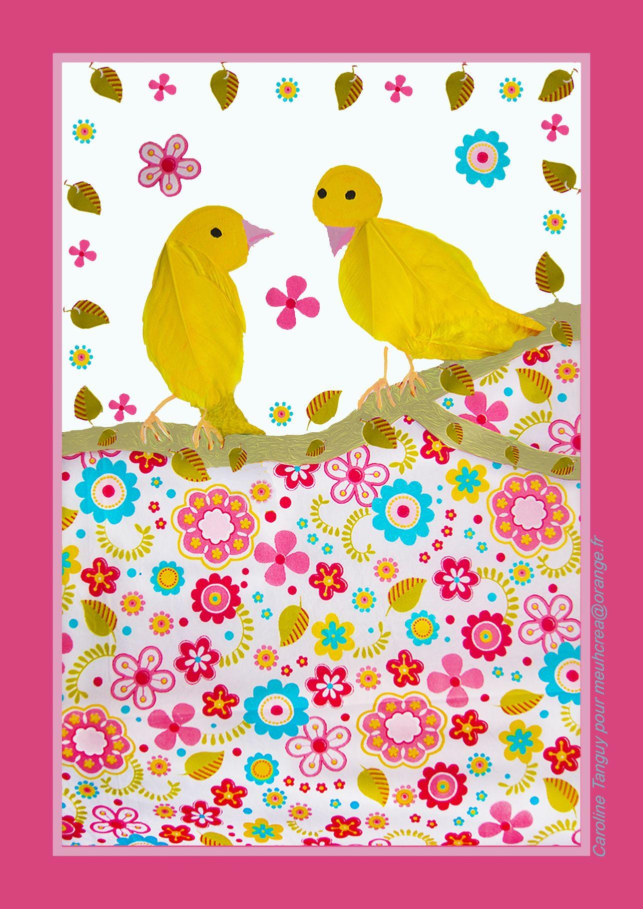 Illustration canaris en vente sur la boutique Etsy de Meuhcrea   Différents formats : cartes postales ou affiches au format A5 ou A4 pour décorer une chambre d'enfant par exemple  #decoenfant #birdillustration #postcard