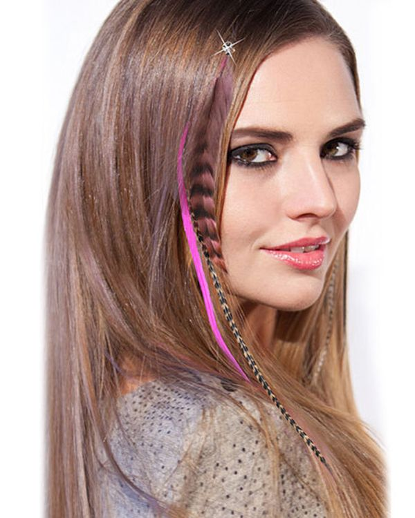 12pcs Multicolour Feather Hair Extension Clip In Hair Extensions