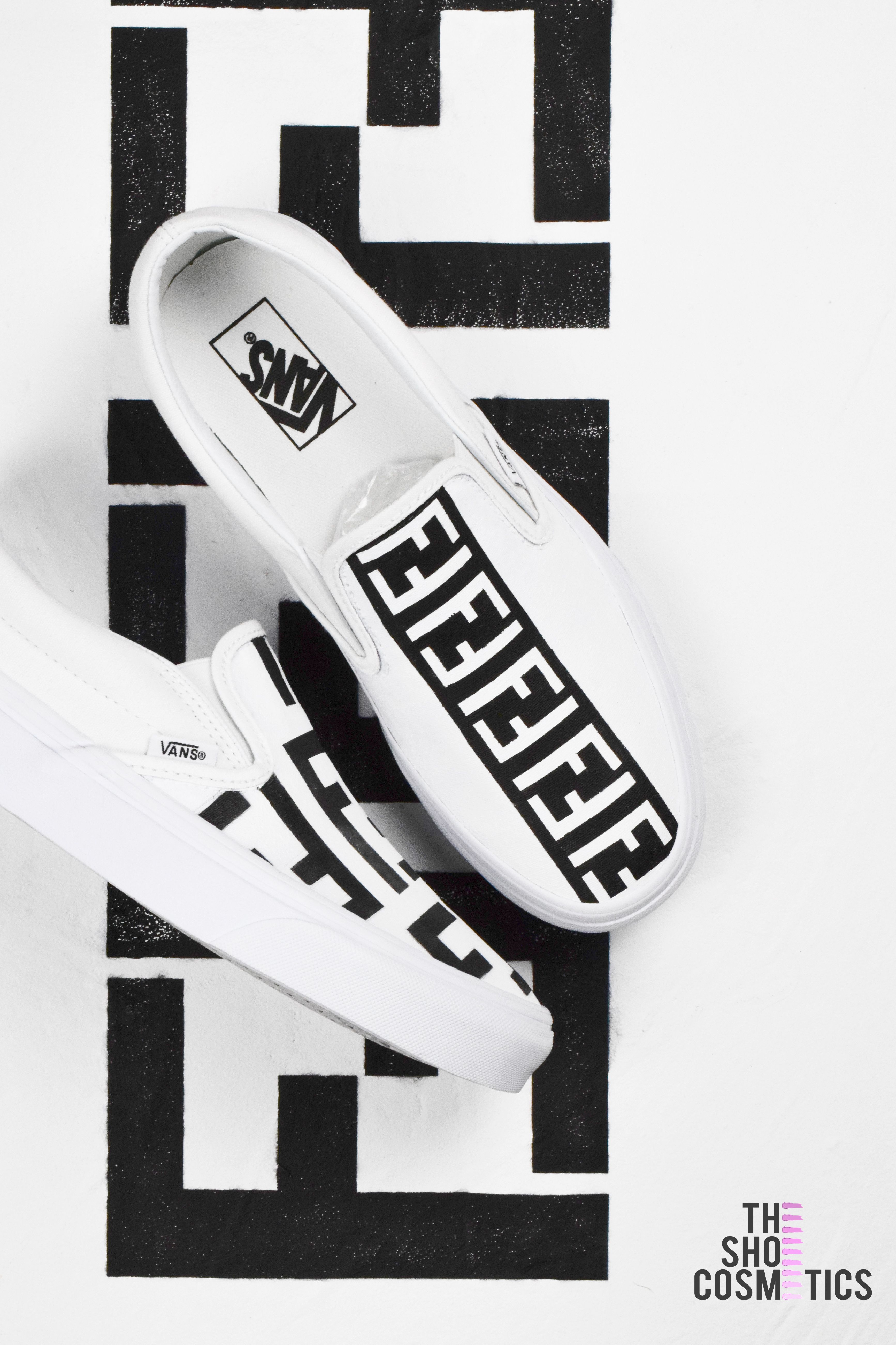 6337960a6f71dd Explore our hand painted Fendi print Vans slip on womens custom sneakers.  Looking for slip on sneakers