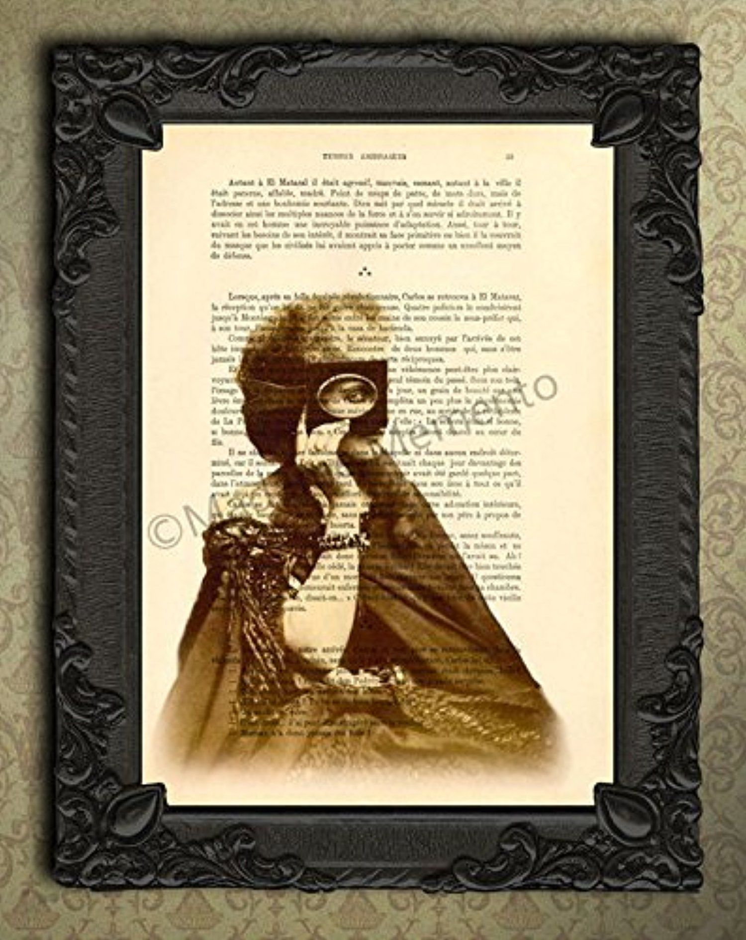 Victorian countess of Castiglione art print, antique photograph on original book page, sepia home decor -- Awesome products selected by Anna Churchill