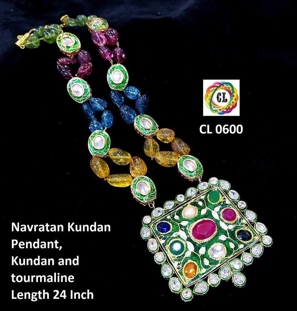 Navratan kundan pendant set designer indian clothing pinterest