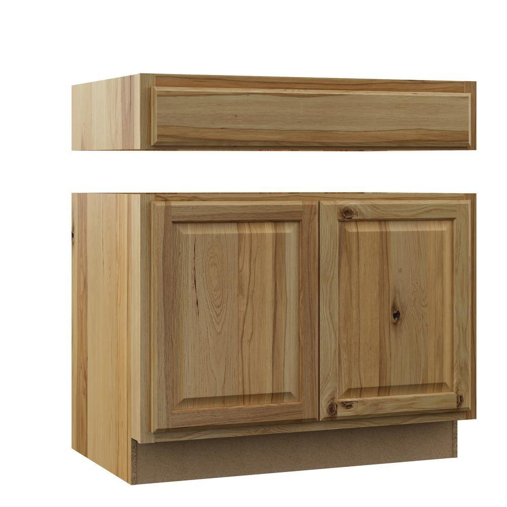 Hampton Bay Hampton Assembled 36x34 5x24 In Accessible Ada Sink Base Kitchen Cabinet In Natural Hickory Ada Sink Kitchen Cabinets Staining Cabinets