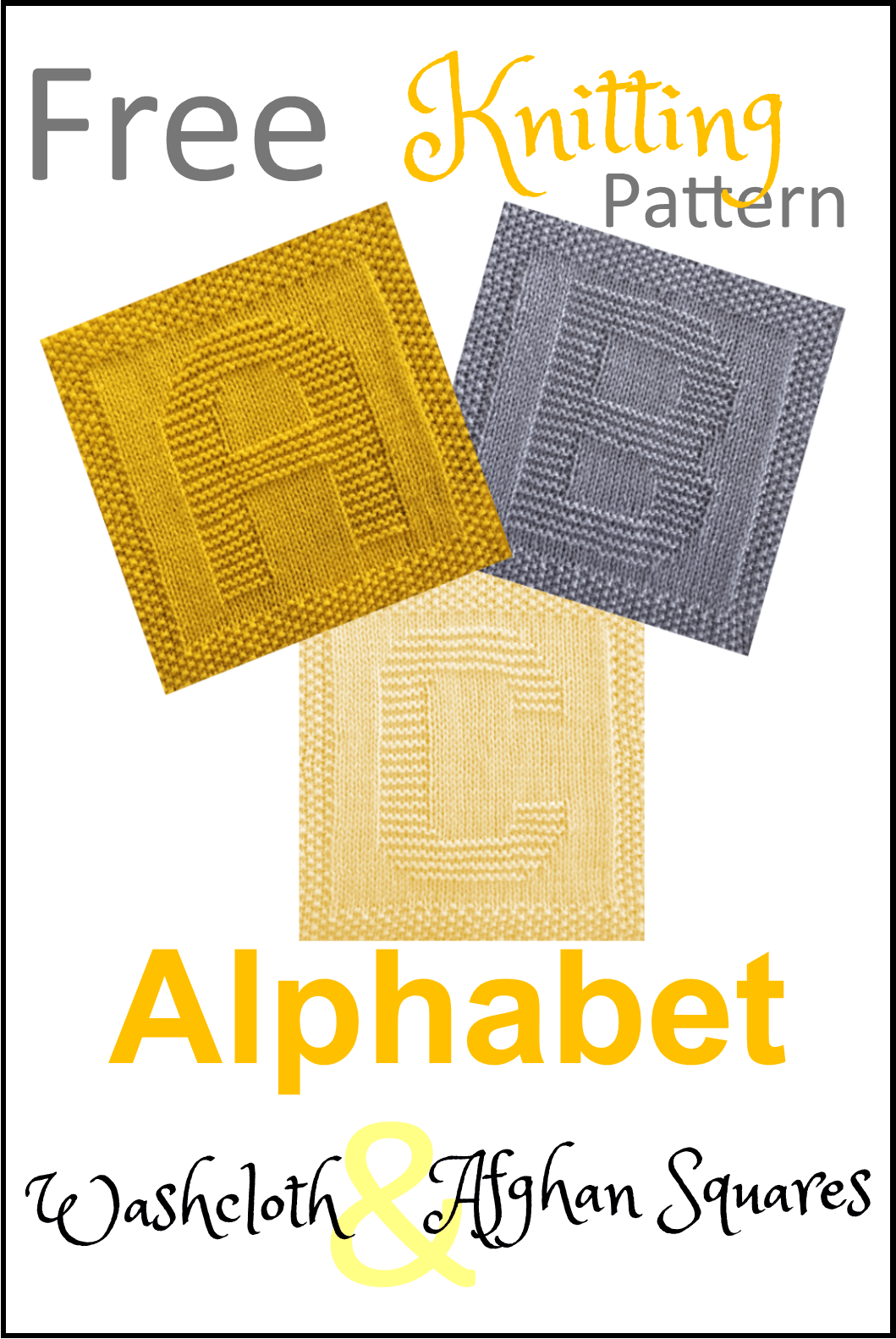 Photo of Free Alphabet Washcloth and Afghan Squares Knitting Pattern