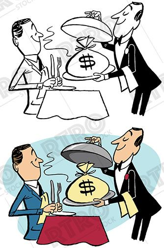 man being served money on a silver platter vintage retro clip art rh pinterest co uk pile of money clipart free