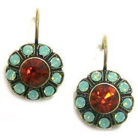Israeli Designer Mariana Antique 14K Gold Plated Flower Drop Earrings. Think mint and orange! This seasons colors.