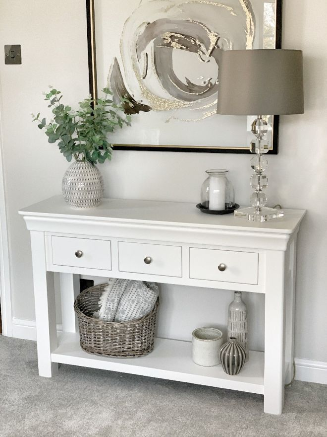 Toulouse White Painted 3 Drawer Large Console Table Summer Sale In 2020 Hallway Table Decor Hall Table Decor White Console Table Decor