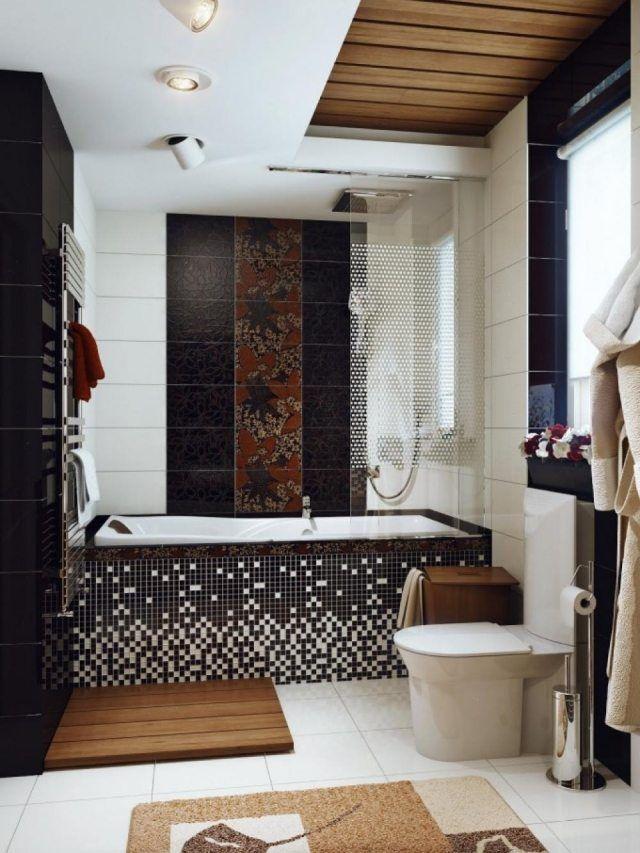 Kleines Bad Gestalten Badewanne Mosaik Verkleidung Schwarz Weiß
