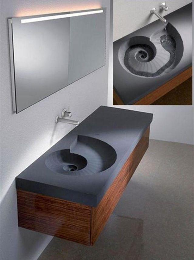 Vasque Salle De Bain Encastrable Forme Unique Spirale
