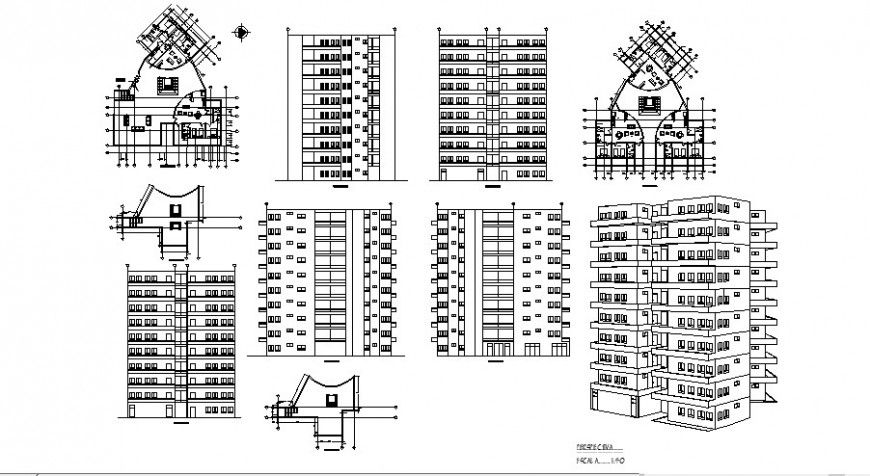 Residential housing building isometric elevation, all