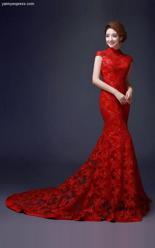 Chinese Wedding Dress.Embellished Trumpet Chinese Wedding Gown Lace Bridal Qipao Chinese