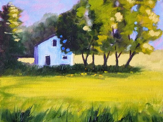 Landscape Oil Painting Small House And Trees Original On Canvas