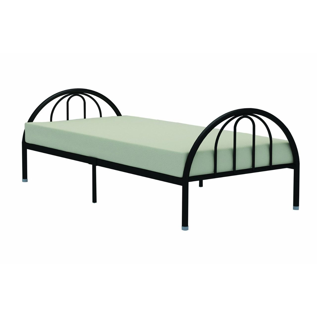 Twin Black Metal Platform Bed Frame with Arch Headboard & Footboard ...