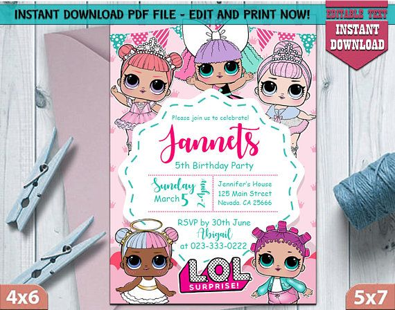 Instant Download L O L Surprise Birthday Invitation L O L Birthday