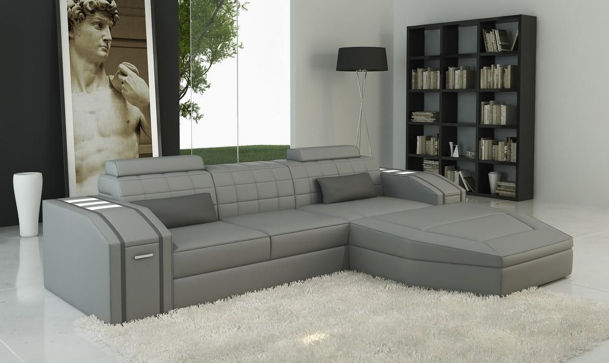 Divani Casa 5038b Modern Grey Bonded Leather Sectional Sofa Stylish Design Furniture Leather Living Room Furniture