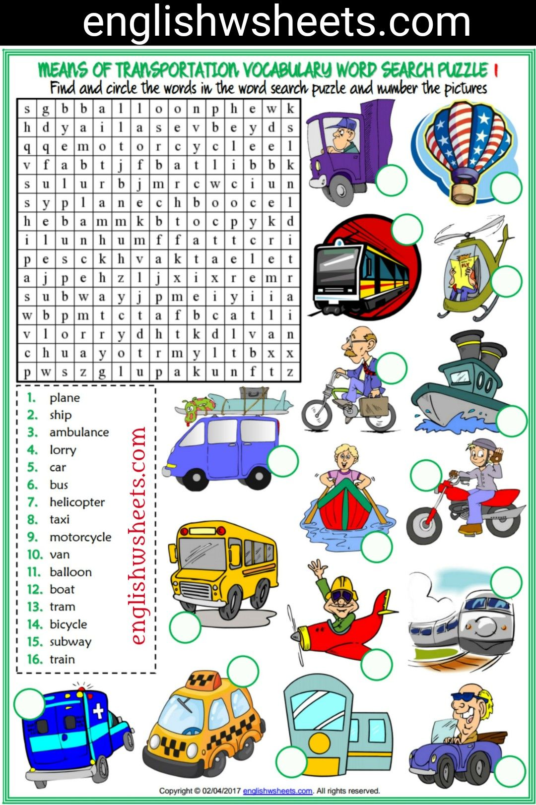 In the living room missing letters in words worksheet - Means Of Transportation Esl Printable Word Search Puzzle Worksheets For Kids 2 Sets